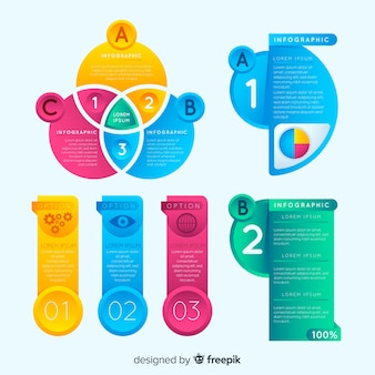 Colorful set of infographic elements with gradient style