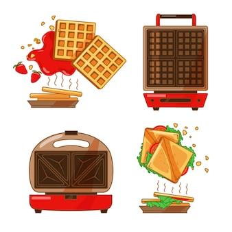 孤立した背景の上のキッチン家電サンドイッチとワッフルメーカーのカラフルなセット
