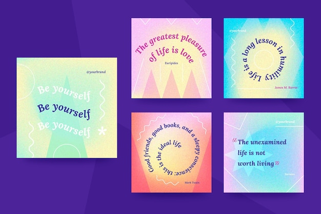 Красочный набор мотивационных цитат в instagram