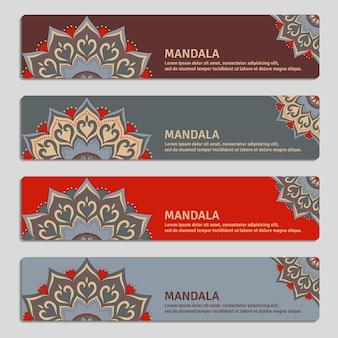 マンダラと装飾用バナーのカラフルなセット。ヴィンテージの装飾的な要素。
