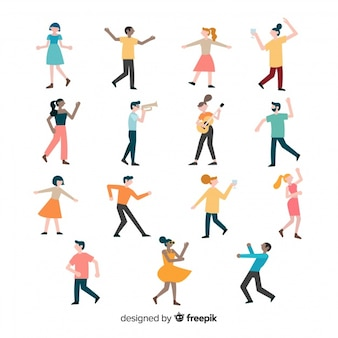 Colorful set of people dancing