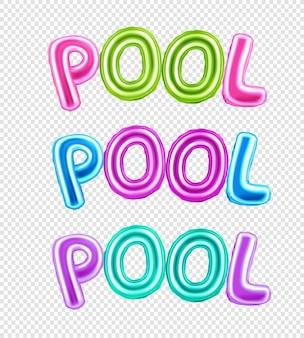 Красочный набор надписи бассейн с иллюстрацией букв воздушного шара