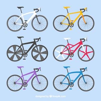 プロの自転車のカラフルなセット