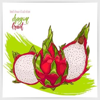 Красочный набор спелых и вкусных фруктов дракона