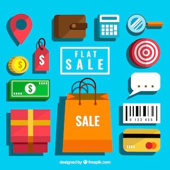 Красочный набор элементов продажи