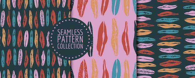 다양한 모양과 질감으로 원활한 패턴 배경 헤더 콜라주의 다채로운 세트