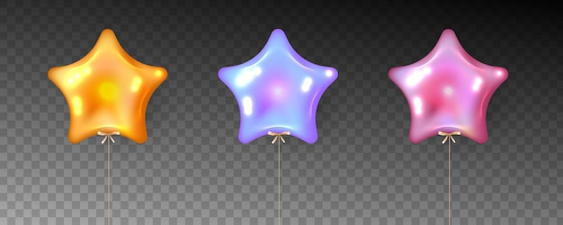 透明な背景に星の形の風船のカラフルなセット。