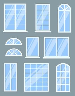 窓の漫画イラストのカラフルなセット