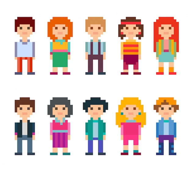 Colorful set of pixel art style characters. men and women standing on white background. illustration.