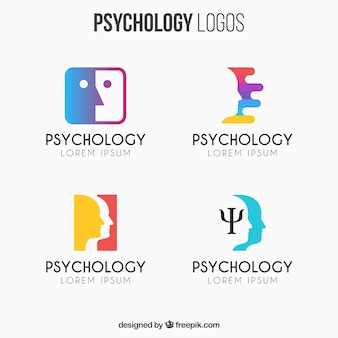 Colorful set of psychology logos in flat design