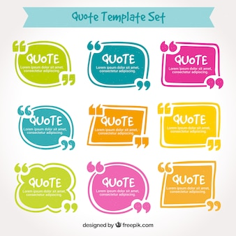 Colorful set of quotation