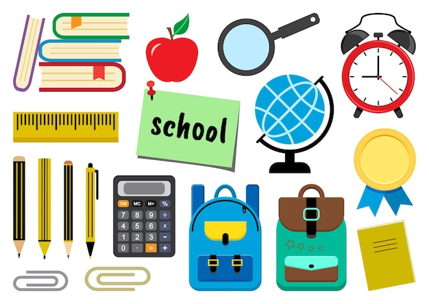 Colorful set of school supplies. vector illustration