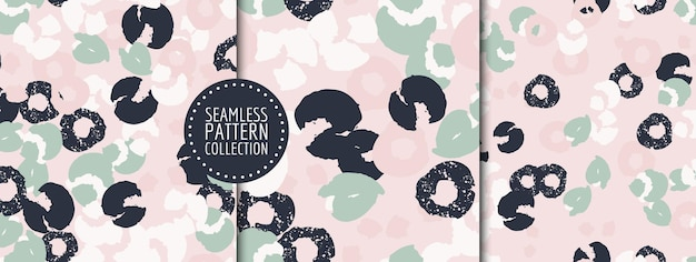 Colorful set of seamless patterns backgrounds headers collages with different shapes and textures