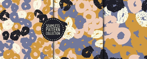 Colorful set of seamless patterns  with different shapes and textures