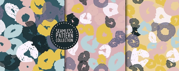 Colorful set of seamless patterns,  with different shapes and textures