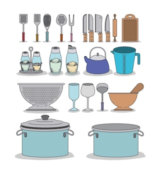 Colorful set silhouette group of kitchen utensils