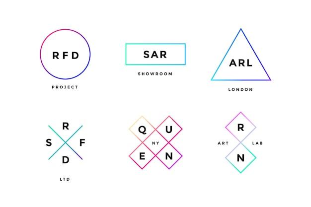 Colorful set of simle logo in modern minimal style