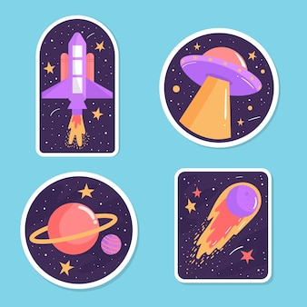 Colorful set of space stickers