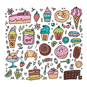 Colorful set of sweet food cartoon doodle objects