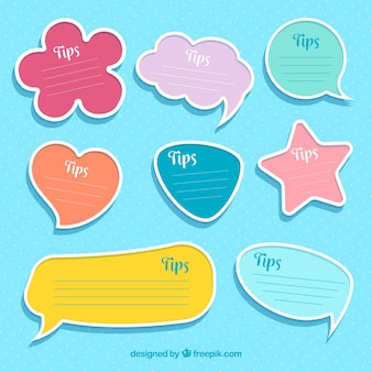 Colorful set of tip labels with flat design