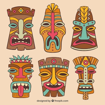 Colorful set of tribal masks with fun style