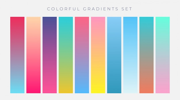 Colorful set of vibrant gradients vector illustration