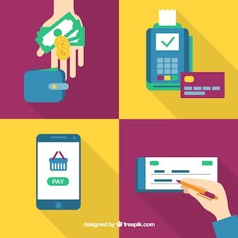Set colorato con una varietà di metodi di pagamento