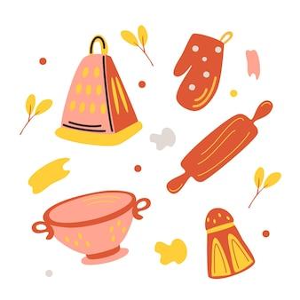 Красочные наборы силуэтов кухонных принадлежностей, дуршлаг, терка, скалка, солонка, рукавица