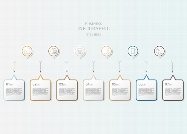 Colorful seven box text infographics and icons.