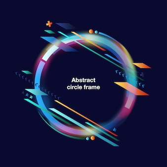 Colorful shapes abstract circle frame background