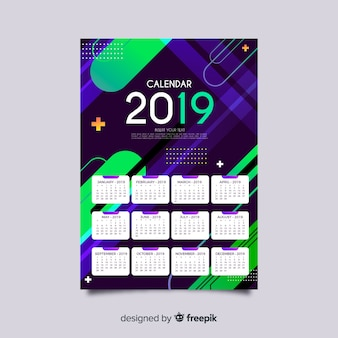 Colorful shapes calendar template