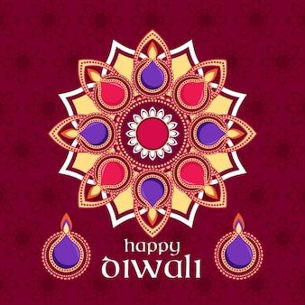 Colorful shapes diwali celebration flat design