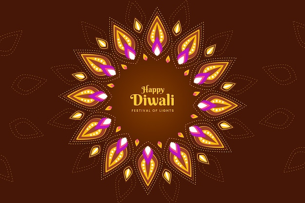 Colorful shapes diwali event flat design