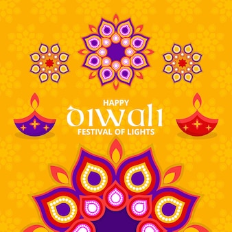 Colorful shapes diwali flat design