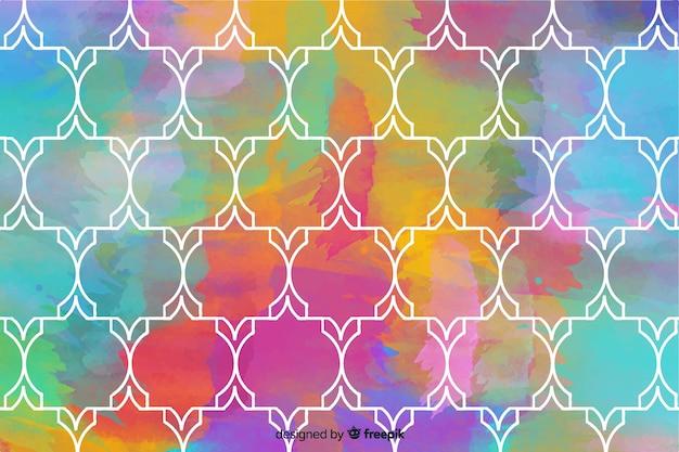 カラフルな図形水彩モザイクの背景