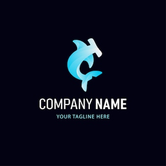 Colorful shark logo design. gradient style animal logo