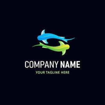 Красочный дизайн логотипа акулы. логотип градиент стиль животные