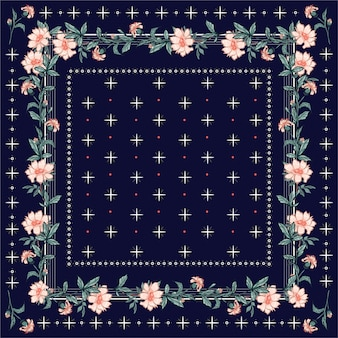 Colorful  shawl, scarf print. blooming garden florals background with line and geometric bandana style seamless pattern.