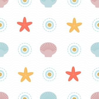 カラフルなシェルと星のパターン