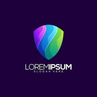 Colorful shield gradient logo template