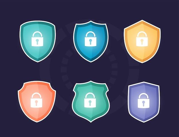 글로벌 데이터 보안, 사이버 데이터 보안 온라인, 인터넷 보안 및 보호 아이디어의 다채로운 방패,