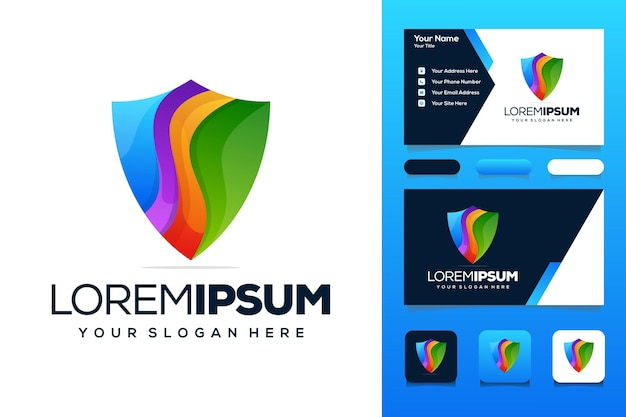 Colorful shield with logo design