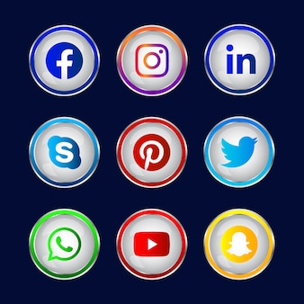 화려한 빛나는 3d 소셜 미디어 소셜 미디어 로고의 둥근 아이콘으로 설정 그라데이션 단추