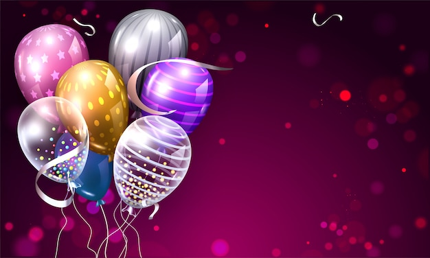 Colorful shiny balloons bunch in different pattern on purple bokeh background.