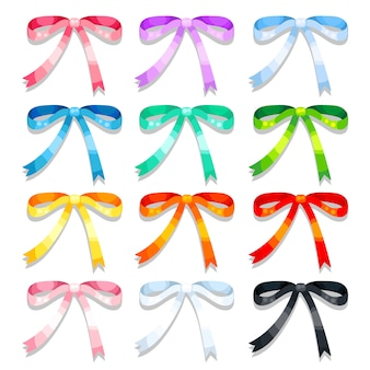 Colorful shiny bow icon collection