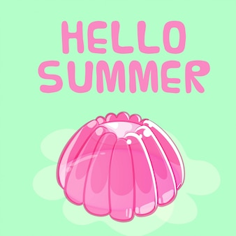 Colorful shiny jelly summer greeting card