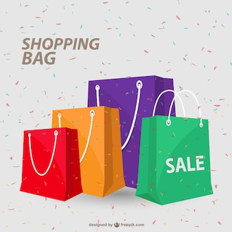 Colorful shopping bags and conffetti