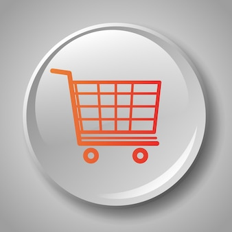 Colorful shopping cart badge icon