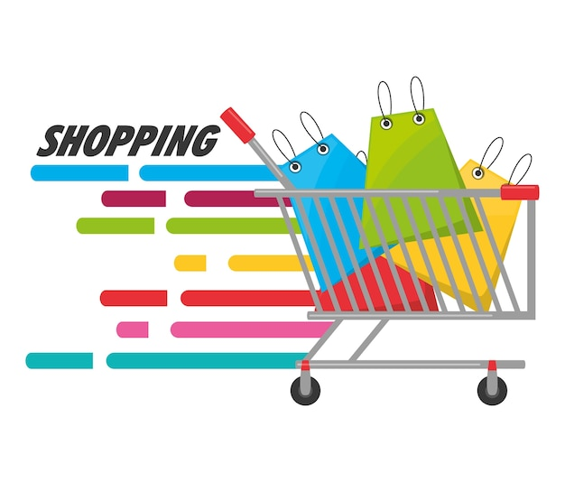 Colorful shopping cart with shopping bag concept