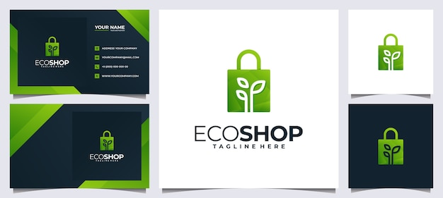 다채로운 쇼핑 로고 및 비즈니스 카드, 가방 및 잎 개념 프리미엄 벡터